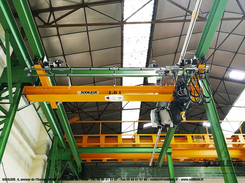 Pont roulant 1,6T + Palan à chaine électrique VR + Chariot motorisé - SODILEVE